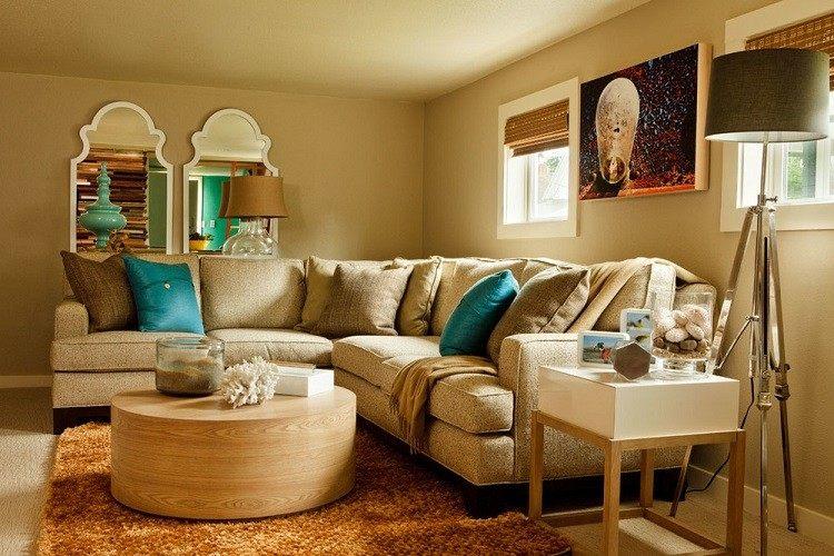 Garrison Hullinger mesa madera redonda salon ideas