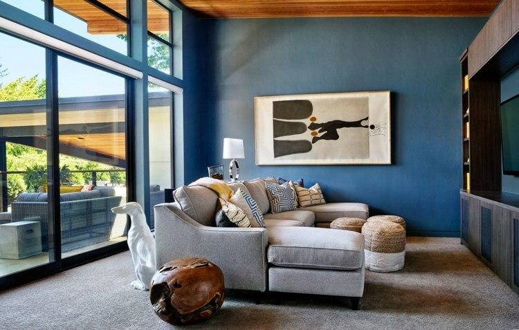 Garrison Hullinger salon pared color azul ideas