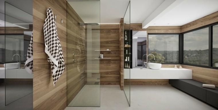 Minosa banos modernos ducha paredes madera ideas