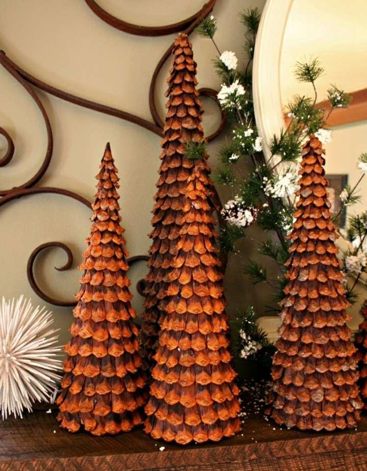manualidades de navidad para niños abetos navidad deco piñas pino