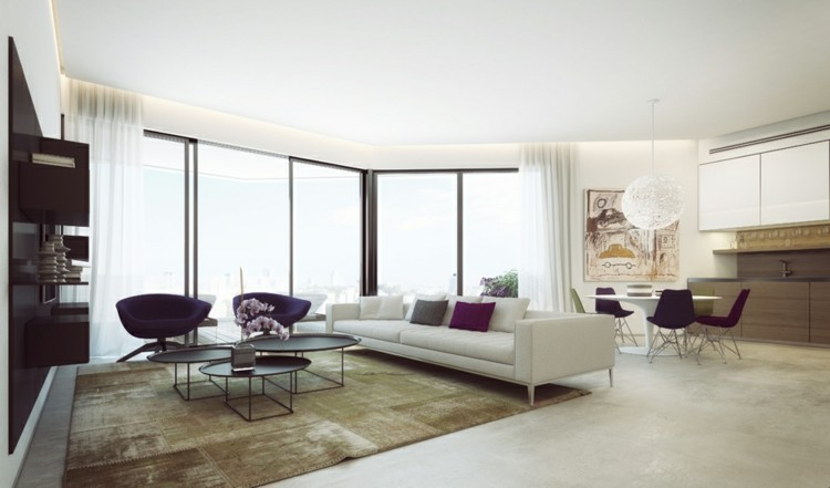 abierto paredes diseños decorado grises cortinas