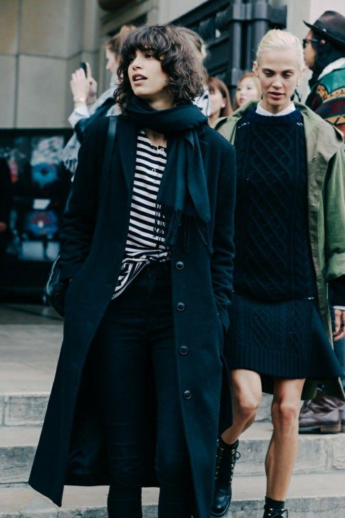 abrigo negro largo blusa rayas blanco negro ideas