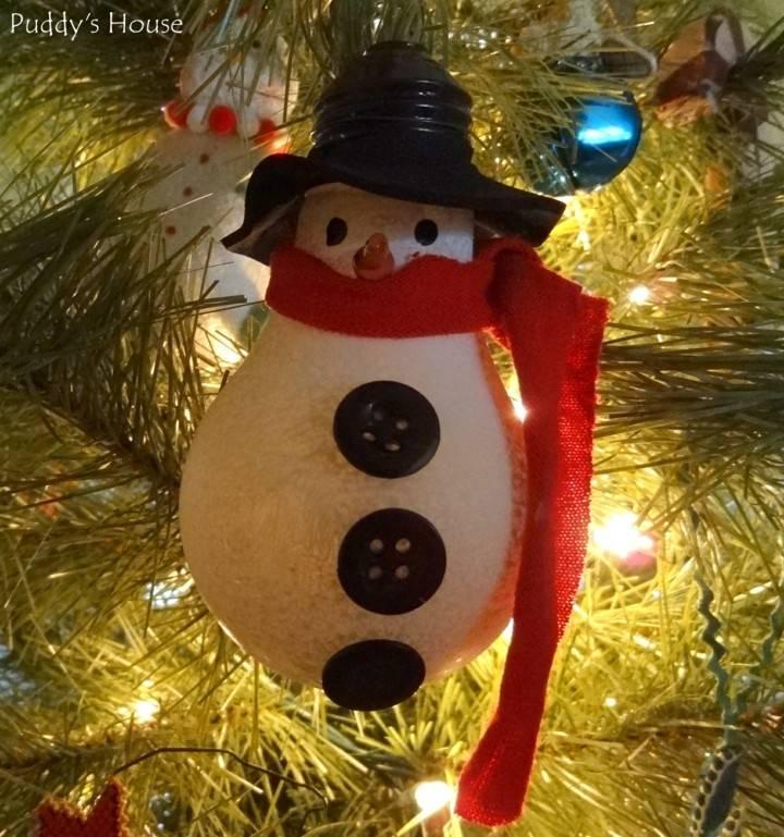 adorno bombilla muñeco nieve