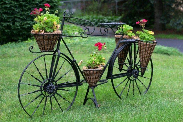 Adornos jardin e ideas originales en 100 im genes - Bicicleta macetero ...