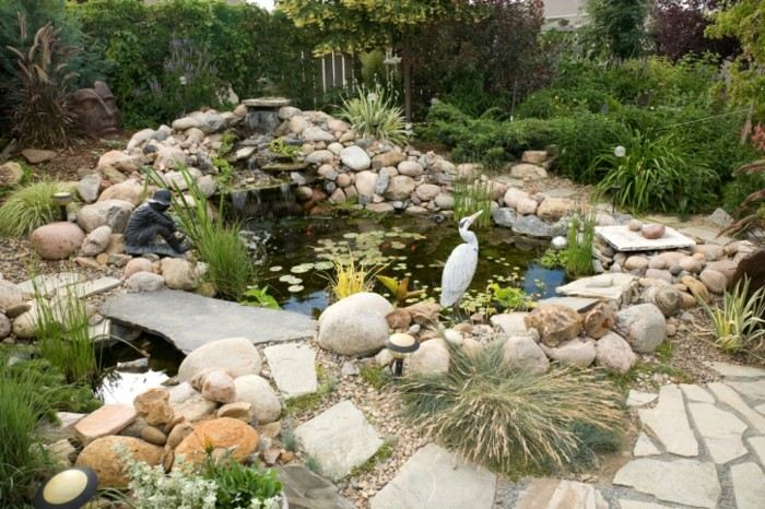 adornos jardin estanque figura hombre ideas