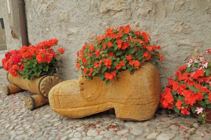 adornos jardin macetas madera distintas formas ideas