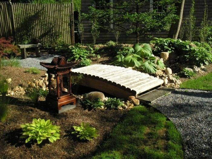 adornos jardin puente madera banco ideas