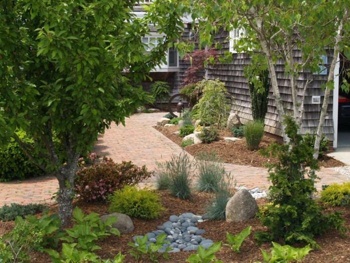 adornos jardin remodelacion decoracion piedras plantas ideas