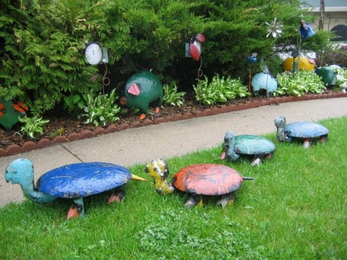 adornos jardin tortugas cerdo figuras animales ideas