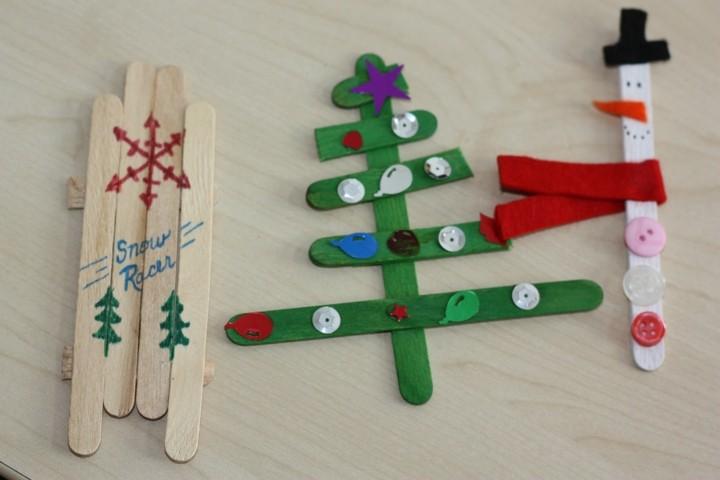 adornos navideños palillos madera