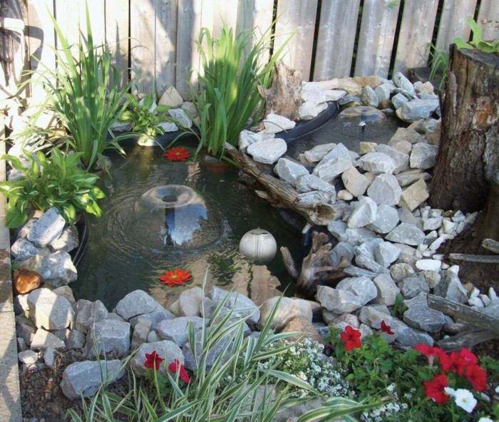 agua jardin estanque plantas modernas ideas