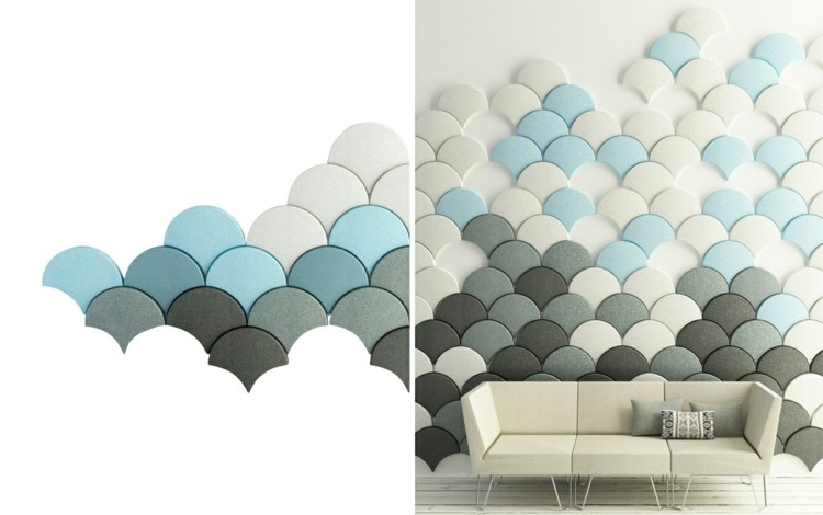 alargado diseño azules negro acustico grises