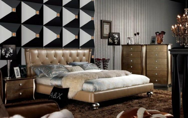 alargado diseño azules negro geometrico dormtorio
