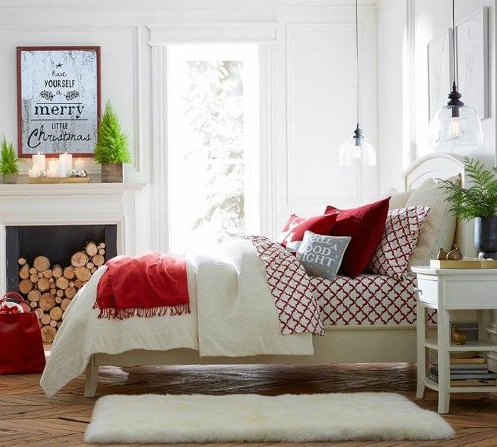 alfombra peluda cama madera blanca chimenea ideas