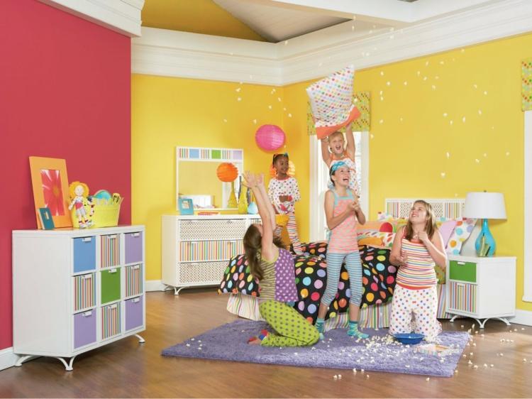 alfombra rosa ideas niña amarillo paredes