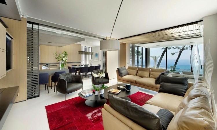 alfombras estilos casa estantes ventanas rojo
