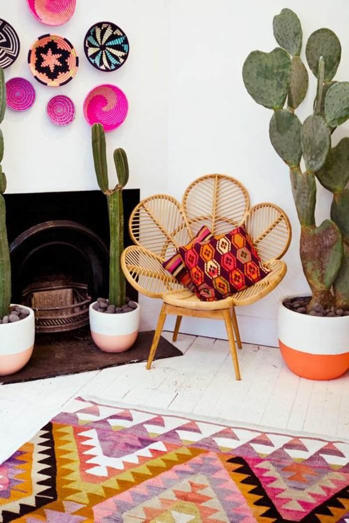 Alfombras vintage y papel de pared para interiores creativos.