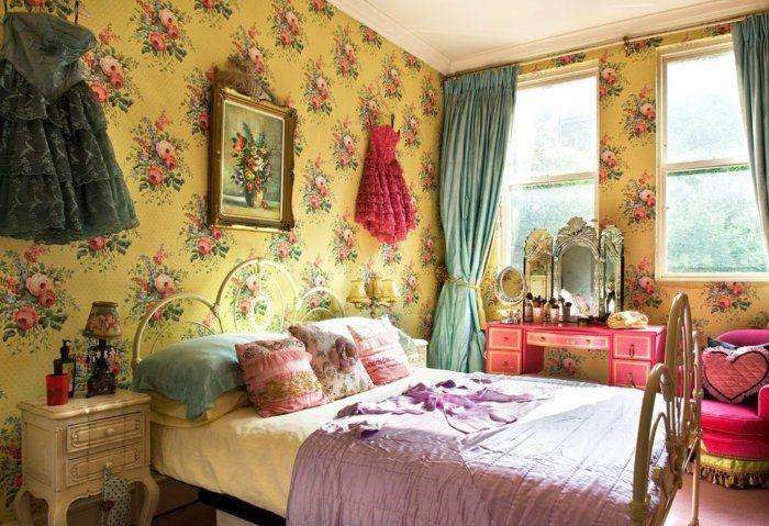 alfombras vintage papel amarillo flores