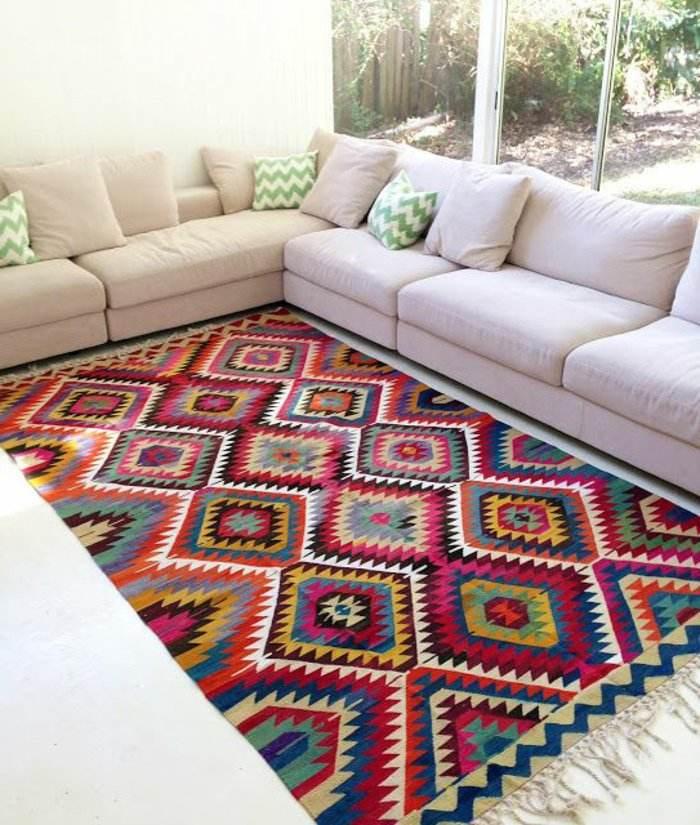 alfombras vintage papel blanco cojines
