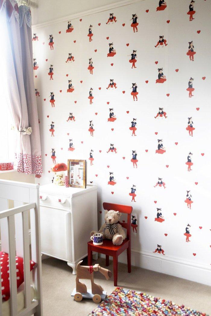 alfombras vintage papel dormitorio infantil cortinas