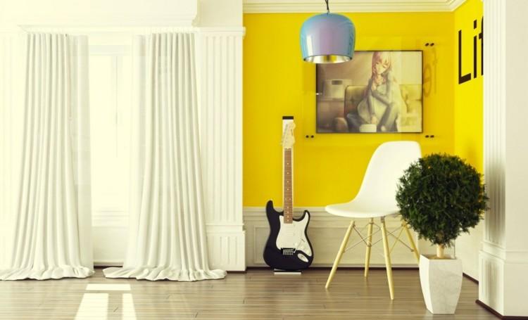 amarillo creativo ventanas cuadros esferas cortinas