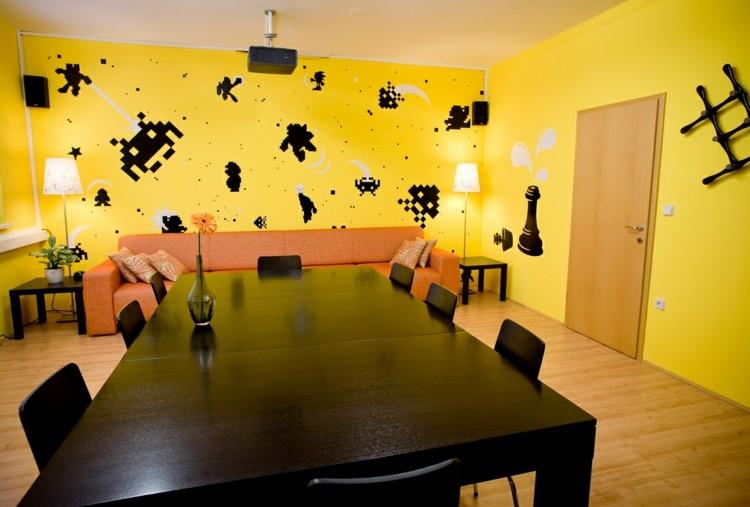amarillo creativo ventanas juego negro