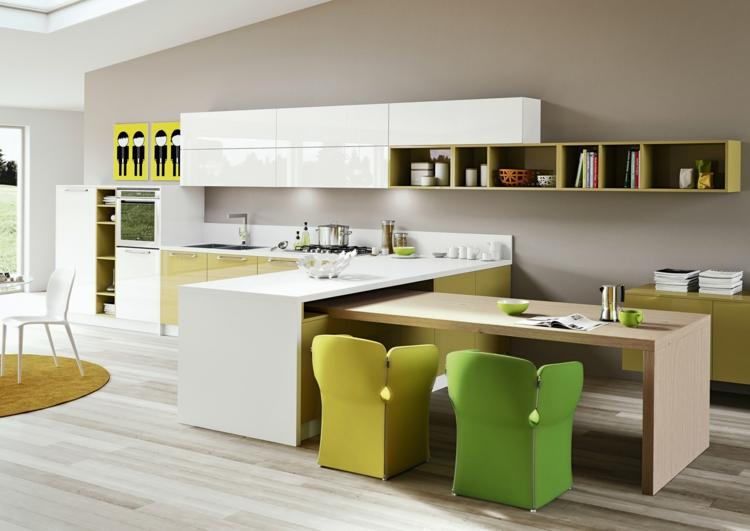 fotos cocinas casas led gaveteros amarillos