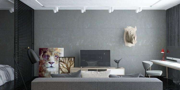 animales paredes diseños decorado grises cabezas