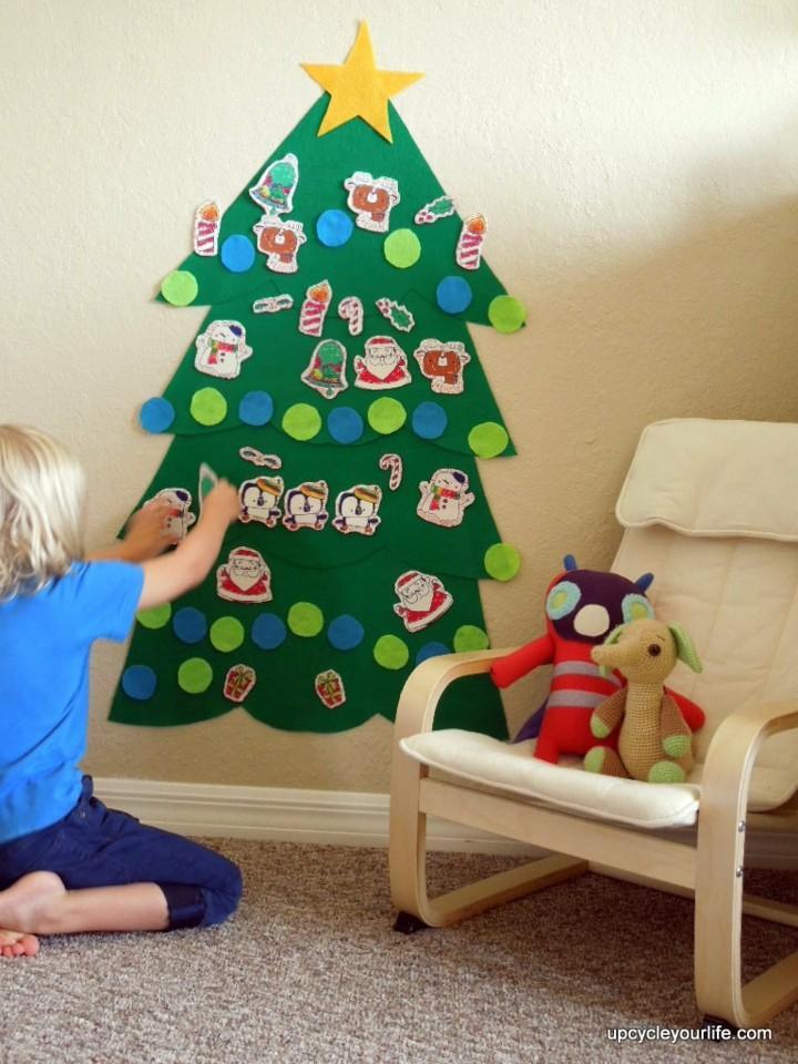 arbol navidad tela prensada pared - Arbol De Navidad De Tela