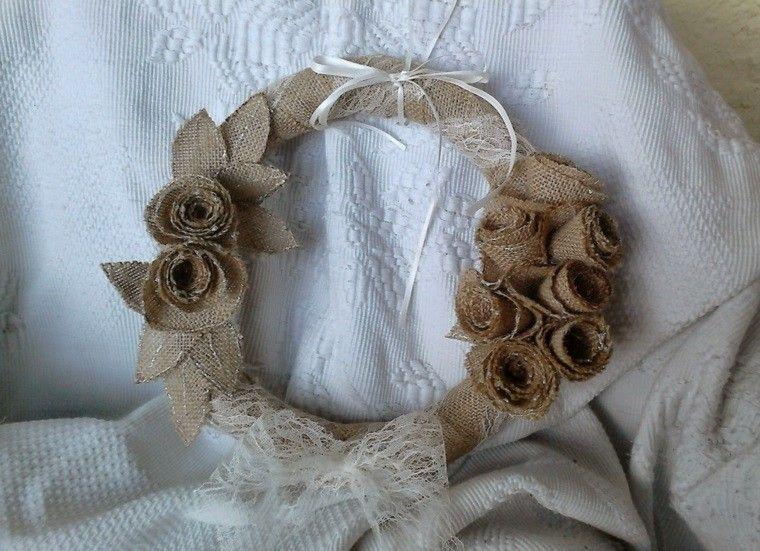 arpillera decoracion guirnalda pequena flores ideas