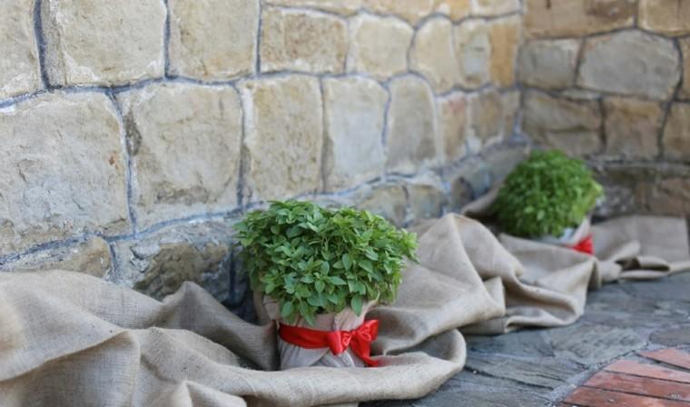 arpillera decoracion macetas jardin revestidas ideas