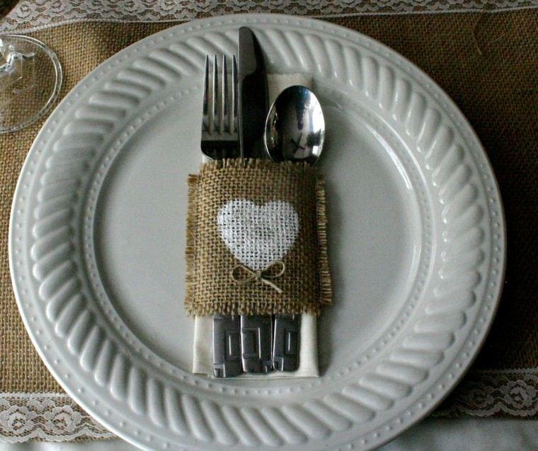 arpillera decoracion mesa plato blanco ideas