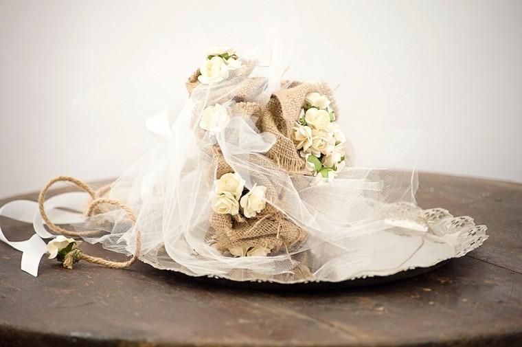 arpillera decoracion ramo flores centro mesa ideas