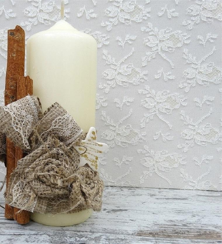 arpillera decoracion vela decorada preciosa ideas
