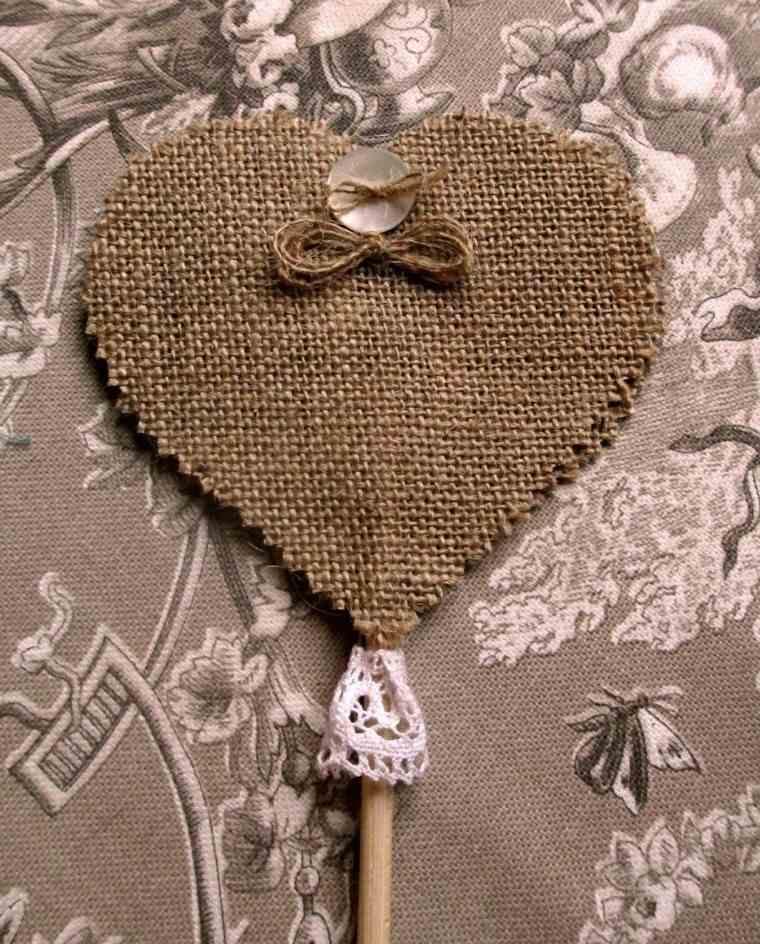 arpillera opciones corazon palito madera ideas