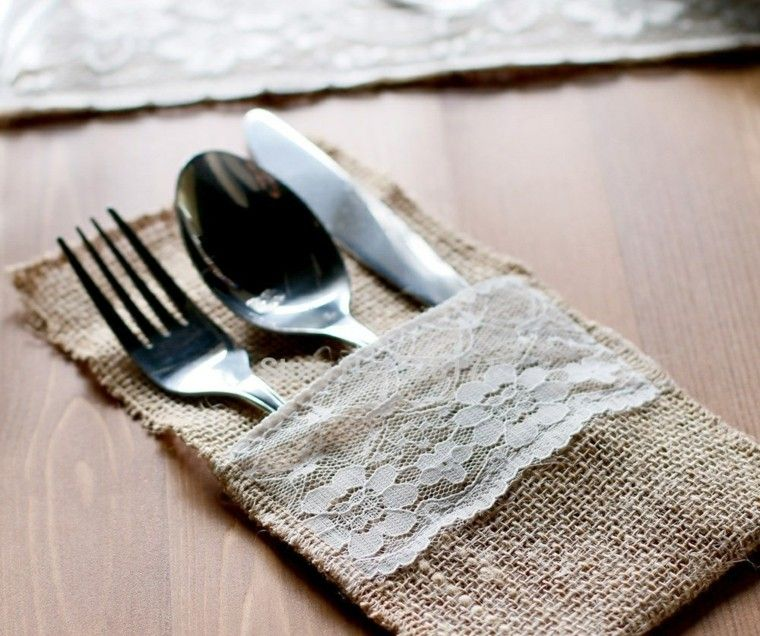 arpillera opciones decorar mesa cuchara tenedor cuchillo ideas