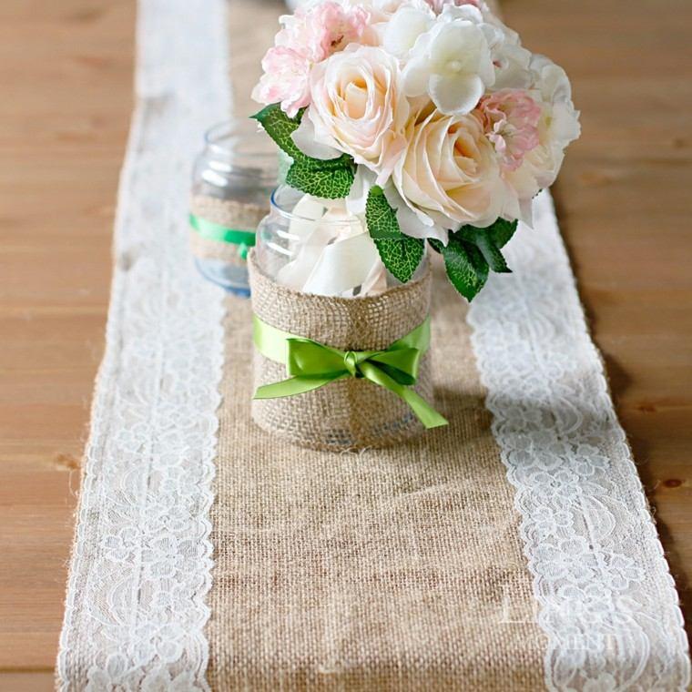 arpillera opciones decorar mesa flores ideas