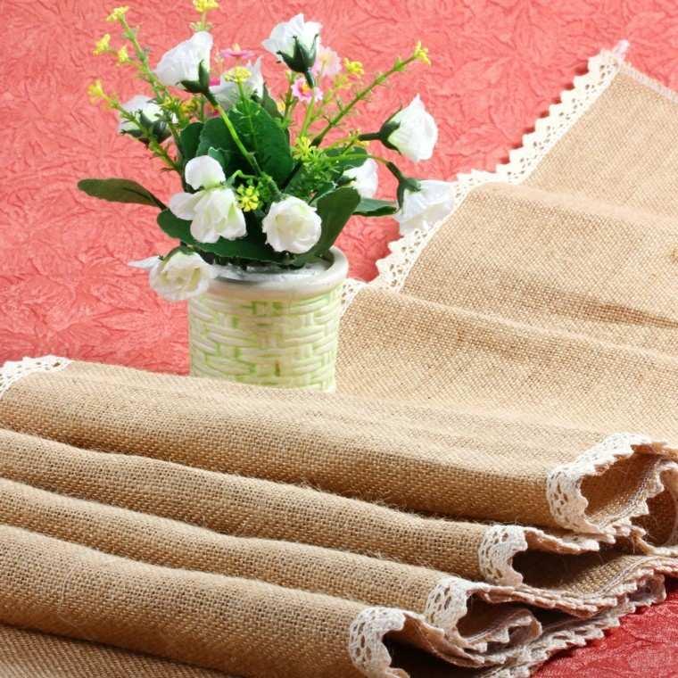 arpillera opciones mantel mesa flores blancas ideas