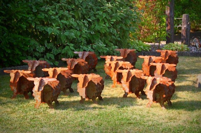 ovejas acero oxidado muy bonitas decorar jardin ideas