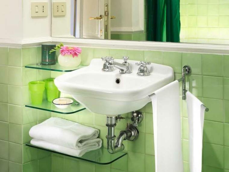 Azulejos Baño Verdes:Azulejos de baño estilo retro de color verde