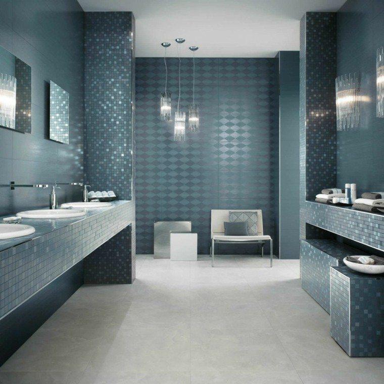 azulejos baño color azul añil