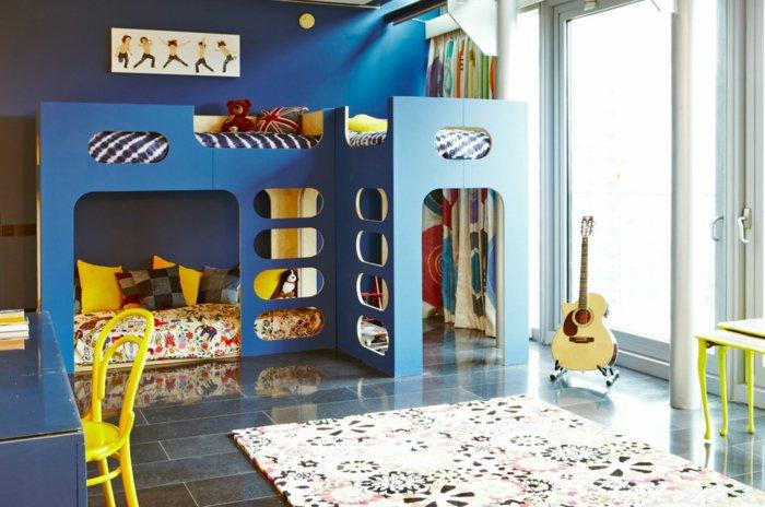 azules diseño amarillo detalles camas