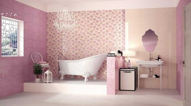 diseño baño lujoso color rosa