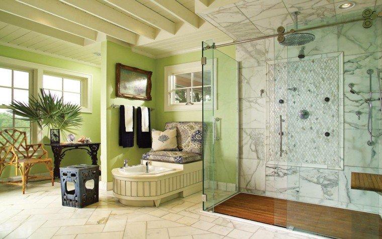 baño rustico lujoso color verde