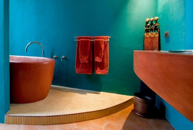 baño color azul muebles naranja