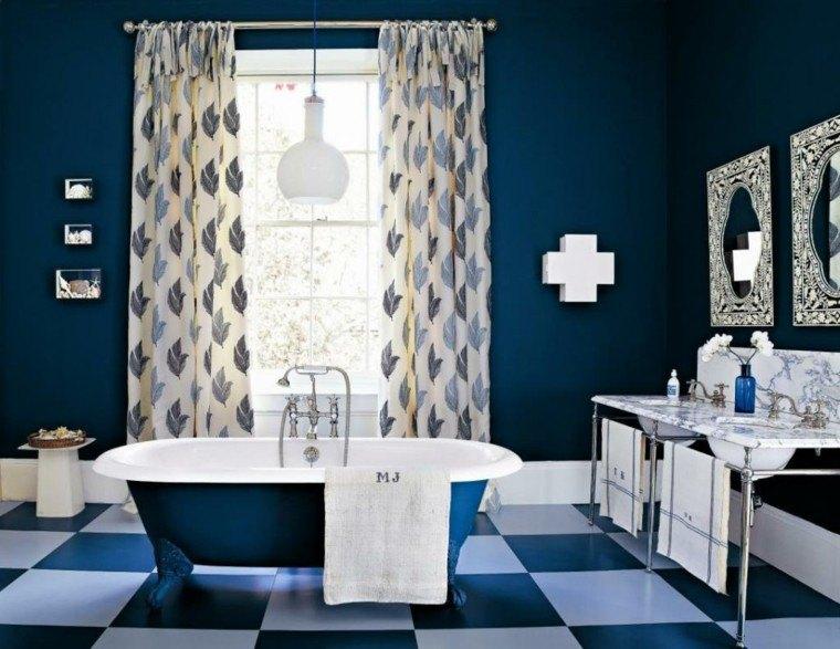 baño estilo retro azul marino