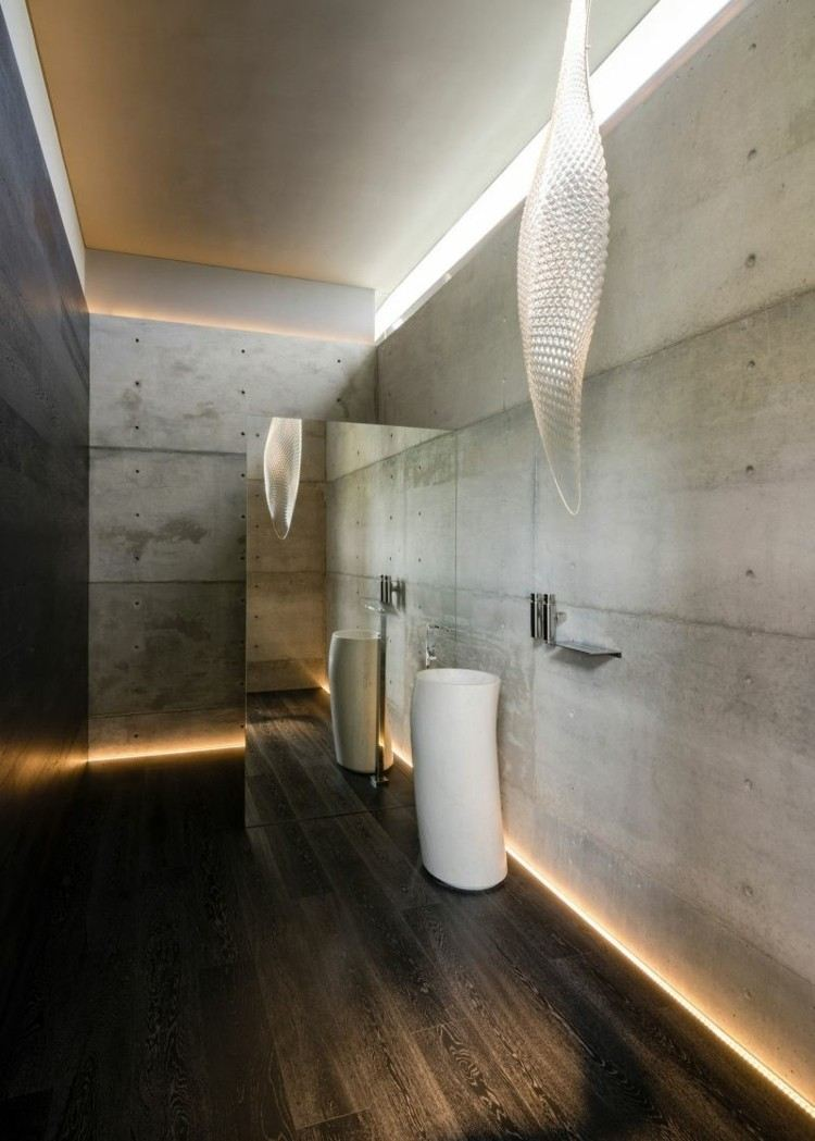 baño estilo futurista todo cemento