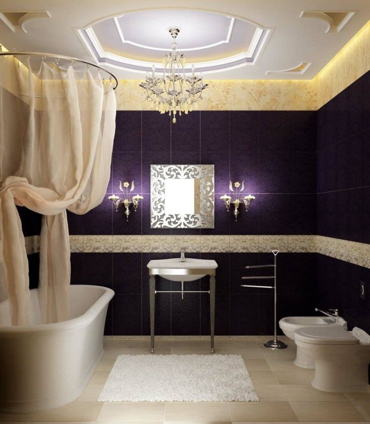 baño lujoso azulejos color purpura