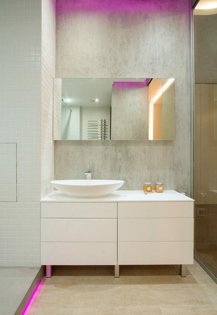 baño luces led color rosa