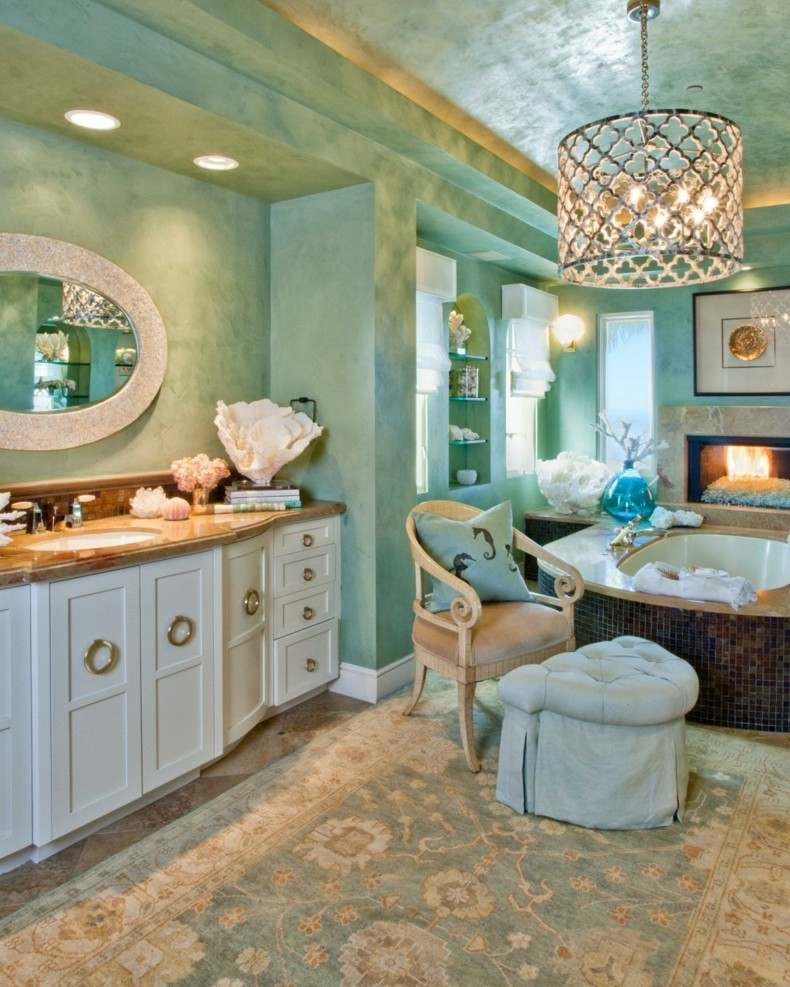 baños de color lujoso color aguamarina